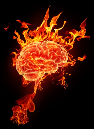 Burning brain in flames on a black background